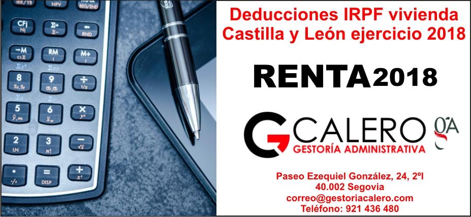Deducciones IRPF vivienda Castilla y León ejercicio 2018
