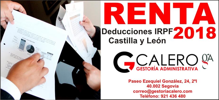 Deducciones IRPF Castilla y León ejercicio 2018
